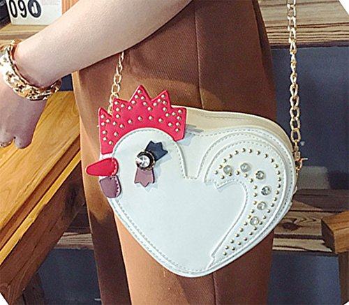 Shape White Messenger Handbags Cock QZUnique Cute Bag Shoulder Body Heart Crystal Cross Women's UqRx7OWX