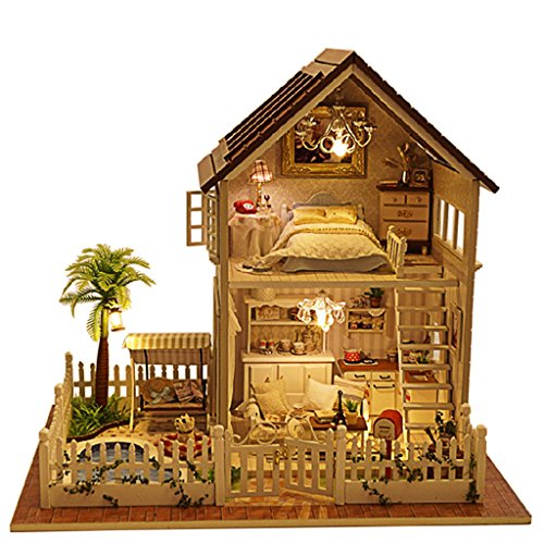 Rylai Wooden Handmade Dollhouse Miniature DIY Kit – Paris Apartment Wooden Dollhouses  Furniture/Parts(1:32 Scale Dollhouse)