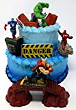 AVENGERS Deluxe Super Hero Birthday Cake Topper Set Featuring Avenger Figures and Decorative Themed Accessories