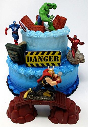 AVENGERS Deluxe Super Hero Birthday Cake Topper Set Featurin