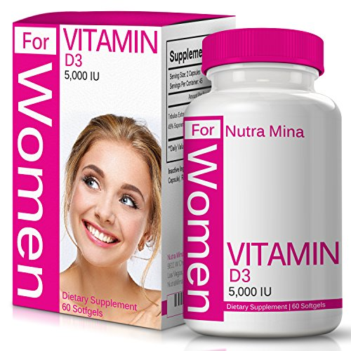 FLASH SALE – Vitamin D3 5000 IU for WOMEN with Cholecalciferol that Supports Proper Calcium Absorption to Maintain Strong Bones, Teeth, Muscles and Immune System, 60 Softgels – Made In USA For Sale