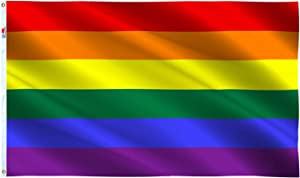 rhungift Premium Gay Pride Flags 3x5Ft,LGBT Rainbow Flags Quadruple Stitched Fly Ends with Brass Grommets-100% Super Polyester Material -Complete Set Pride Banner (Rainbow)