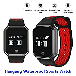 Hangang Smart Watch 0.95 Inch LED Metal Fashion Wristband IP67 waterproof Smart pedometer hands-free phone Support Blood Pressure Heart Rate Monitoring Detachable Watch for IOS /Android-(Red)