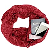 HULKAY Upgrade Premium Women Infinity Scarf With Zipper Pocket–Soft Stretchy Jersey(Red 2)