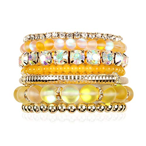 (RIAH FASHION Multi Color Stretch Beaded Stackable Bracelets - Layering Bead Strand Statement Bangles (Mermaid Glass - Yellow, 7))