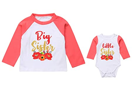379f5bfd81966 Big Sister Littler Sister Matching Outfits Cotton Long Sleeve T-Shirt  Bodysuit Romper Clothing Sets