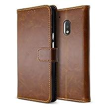 BELK Motorola Moto G4 Plus Case, Retro Vintage Leather Wallet Case for Motorola Moto G4 Plus, Classical Manetical Snap Folio Flip Card Cover for Moto G 4th Gen (5.5 Inch), Buff