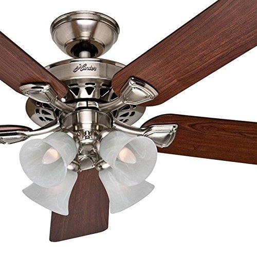 """Hunter Fan 52"""" Ceiling Fan in Brushed Nickel with 4-Light Fi"""