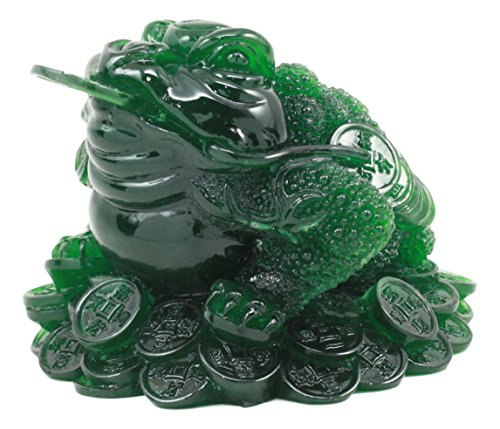 Ebros Acrylic Jade Green Resin Feng Shui Jin Chan Fortune Money Frog Statue Talisman Lucky Toad Figurine Charm Sculpture Decor