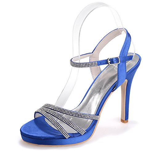 Scarpe Strass Taglie Mano Elobaby Nuove cm S5915 Fatti 35 42 Donna 11 Sandali da blu Sposa Tacco a Scarpe PwwCqZf