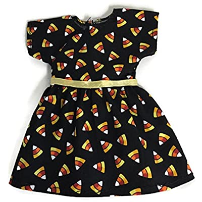 Black Halloween Candy Corn Dress for 14 inch American Girl Wellie Wisher Doll: Toys & Games
