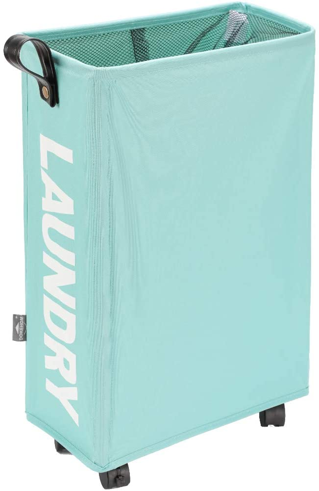 DOKEHOM Slim Laundry Basket with Leather Handle on Wheels (4 Colors), Foldable Corner Storage Bins, Collapsible Rolling Laundry Hamper (Light Blue, Slim)