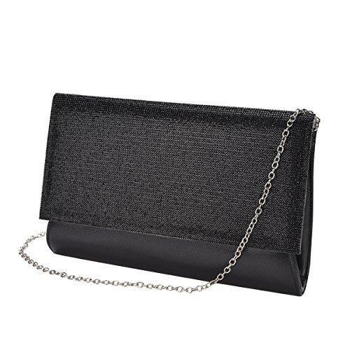 Vavabox Fashion Women Sparkly Rhinestone Evening Clutch Purse Wedding Party Handbag (black) by Vavabox