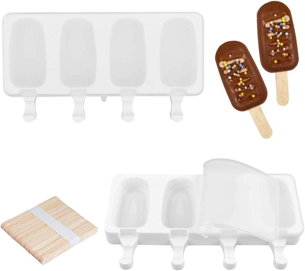 Fimary Large Popsicle Molds Set with Lid, 4 Cavities Homemade DIY Ice Pop Molds Oval, Food Grade Silicone Molds for Kids & Ault, with 50 Wooden Sticks (1, White)