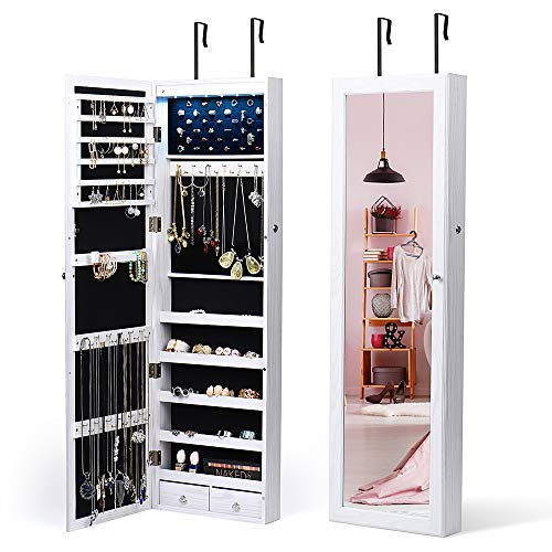 TWING 6 LEDs Jewelry Cabinet Lockable Wall Door Mounted Jewelry Armoire Organizer with Mirror 2 Drawers White