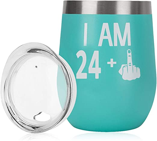 Amazon Com 25th Birthday Gifts For Women 25th Birthday Decorations For Her Rose Gold 12oz Wine Tumbler Stainless Steel 25 1 Finger Funny Gift For Friends Wife Mom Coworkers Kitchen Dining