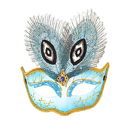 OULII Peacock Feather Eyemask Carnival Halloween Masquerade Mask Party Ball Mask (Blue) (Peacock Mask Face)