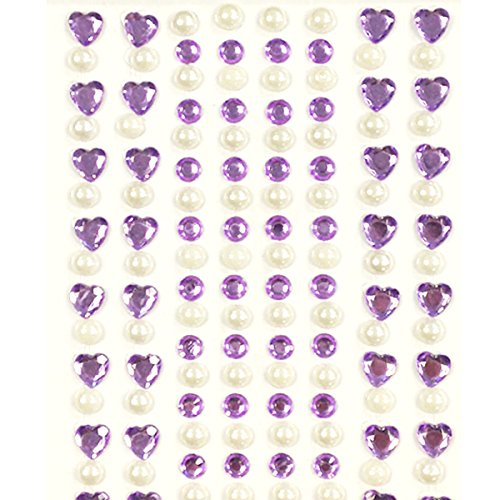 AllyDrew 164 pieces Crystal Heart and Pearl Stickers Adhesive Rhinestones, Purple