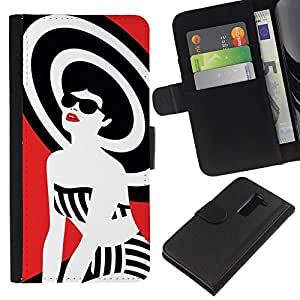 All Phone Most Case / Oferta Especial Cáscara Funda de cuero Monedero Cubierta de proteccion Caso / Wallet Case for LG G2 D800 // Lady White Black Red Style