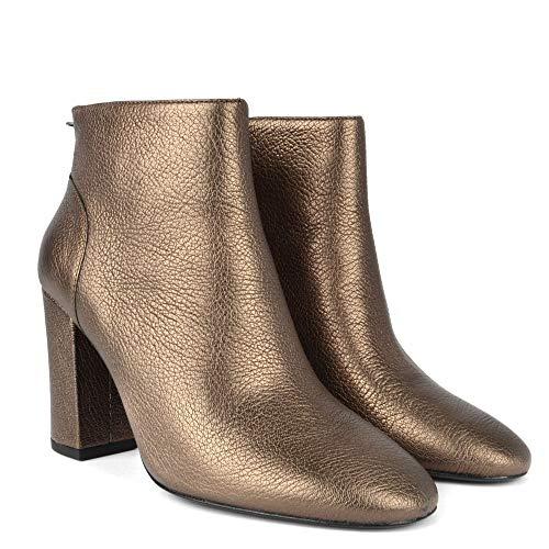 Stone De Joy Cuero Mujer Ash Con Footwear Tacón Dorado Botas ORnEIaq