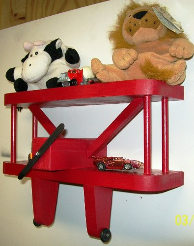 Dechant's Railroad Express Airplane Wall Decoration - 12'' RED Display Shelf for Aviation Themed Kids Rooms & Baby Nurseries