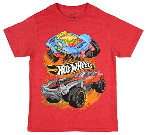 - Hot Wheels Boys' Shirt Race Cars & Banner T-Shirt (X-Small) Heather Red