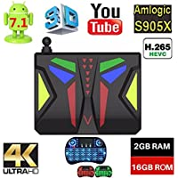 Android 7.1 4K Smart TV Box 2GB/16GB Amlogic S905X Quad-Core Cortex A53 Built in WiFi/Bluetooth M96X VBOX with Backlit Keyboard