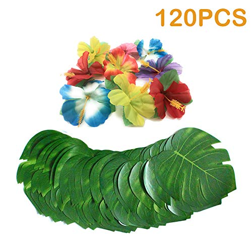 120 Pcs 8Tropical palm Leaves and Silk Hibiscus Flowers Tropical Party Supplies, Artificial Monster Simulation Leaves for Hawaiian Luau Party supplies ,Aloha Jungle Beach Theme Table Decorations