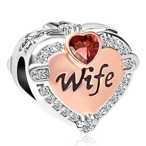 CharmSStory Heart Wife Love Rose Gold Beads Charms for Bracelets Necklaces (Red)