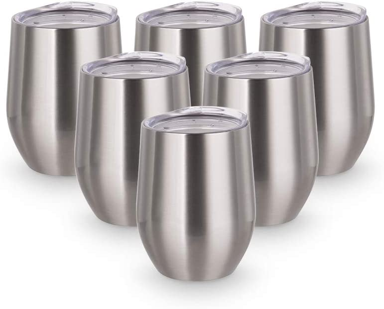 PYD Life Sublimation Wine Tumbler Blanks Silver 12 OZ Stainless Steel DIY Tumbler Insulated Sublimation Mugs,Cups 6 Pack