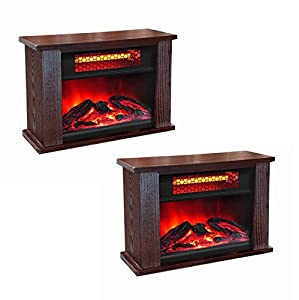 Awesome LifeSmart LifePro 750W Infrared Electric Mini Wood Fireplace Heaters (Pair)