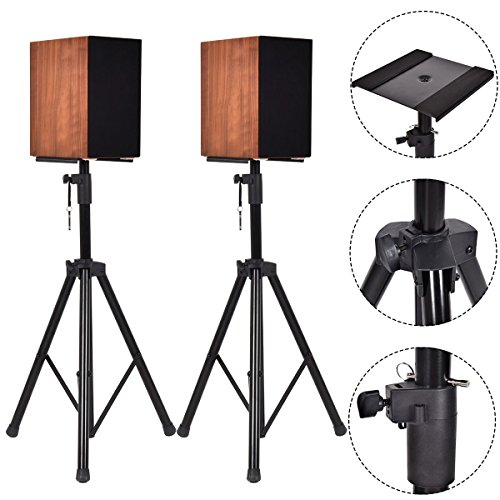 Pair Heavy Duty Adjustable Studio Monitor Speaker Stands Tripod Heavy Duty Steel Construction Keep Your Speaker Safe Concert Band DJ Large Weight Capacity Holds Up To 60kg For Each Stand by beautifulwoman