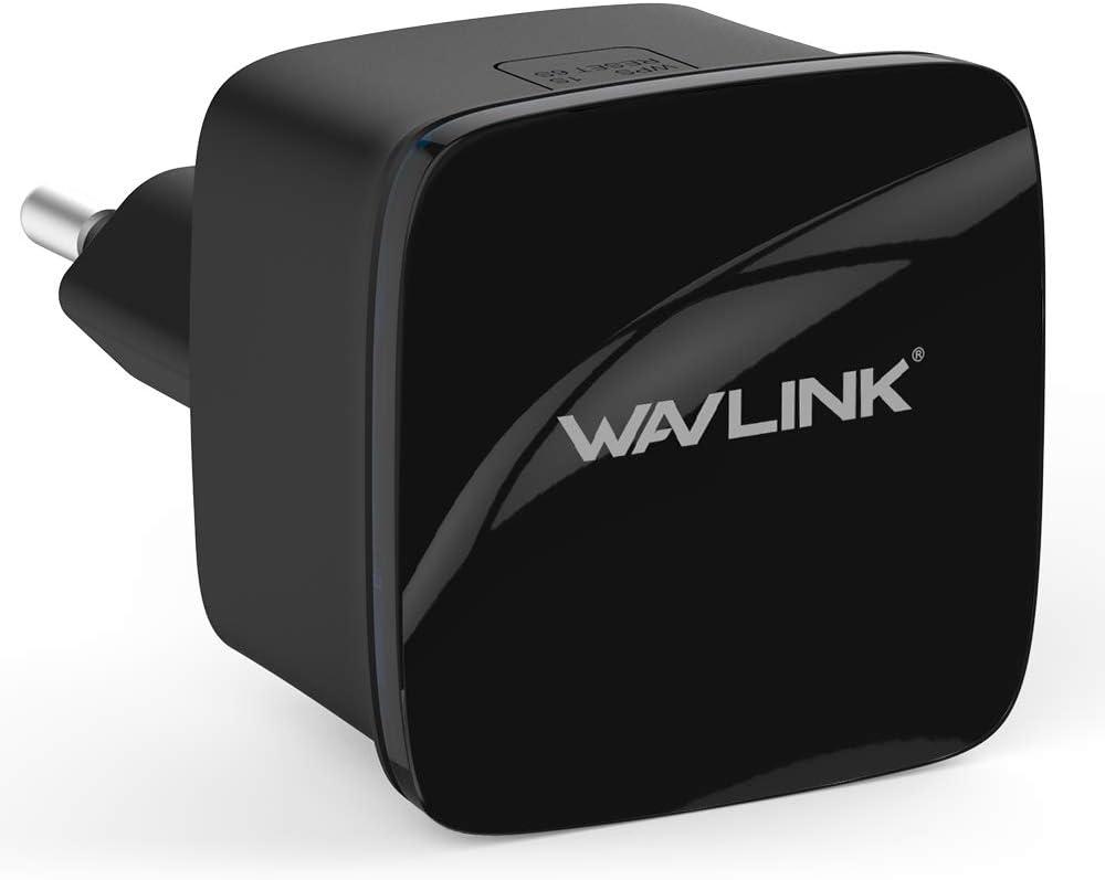 WAVLINK N300 Ultra-Mini WiFi Repetidor Extender de Alcance Wireless-N Router Punto/Signal Booster con 2 × 3dBi Antenas internas y WPS Protección-Negro