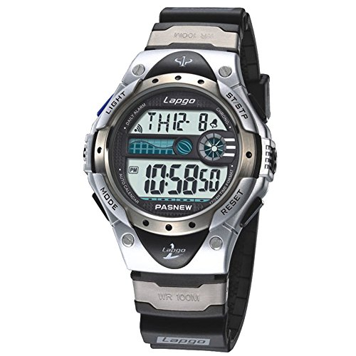 Watch 100m Sports (PASNEW Boys Watches, LCD Digital Watches, Waterproof 100M Sports Watches Silver)