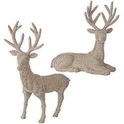 Large 25 Inch High Set of 2 Champagne Silver Rhinestone Deer - Christmas Reindeer in Glittered Rhinestone