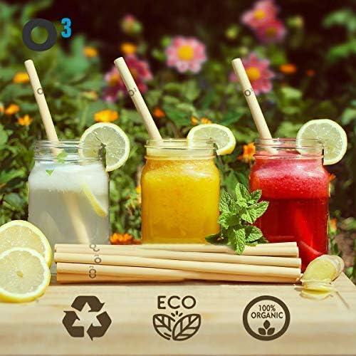O³ [12 piezas] Pajitas de bambú, reutilizables y 100% naturales, pajitas de bambú fuertes y duraderas con herramienta de limpieza
