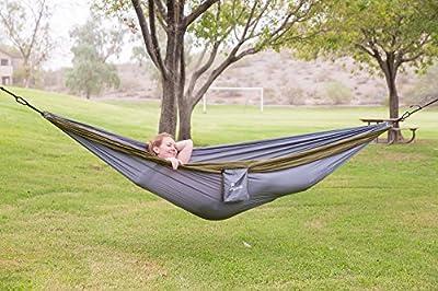 "Camping Hammock With Hammock Tree Straps,Portable Parachute Nylon Hammock for Backpacking, Camping, Travel, Beach, Yard .118""(L) x 78""(W)"