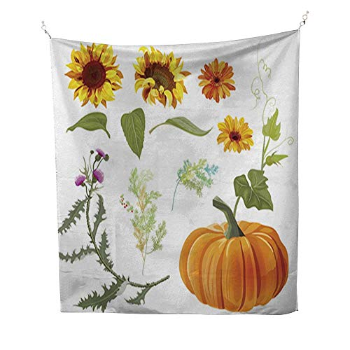 Mikihome Room tapestrybedroom tapestrySet of Autumn Plants Orange Pumpkin Yellow Sunflowers Gerbera Daisy Flower Thistle Small Green Twigs red Berries of aspa 57W x 74L ()