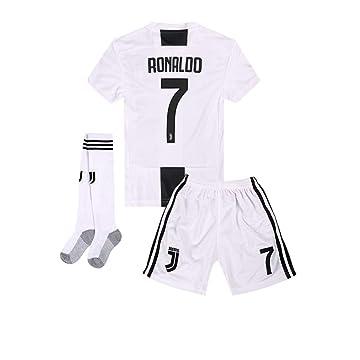 2018-2019 Home C Ronaldo #7 Juventus Kids Or Youth Soccer Jersey & Shorts & Socks White