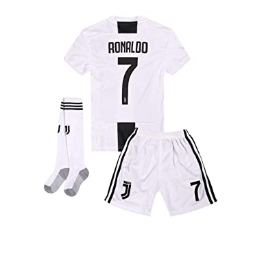 buy online b8039 29458 Zuxyi 2018-2019 C Ronaldo 7 Home Kids/Youths Soccer Jersey Shorts and Socks  Color White