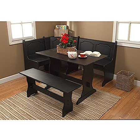 3 Piece Wooden Breakfast Nook Corner Bench With Table Furniture Set In Espresso Amazoncouk Kitchen Home