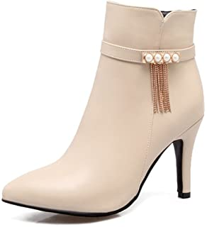 Women's Stylish Inside Zip Up Dressy Pointed Toe Booties Buckle Strap High Stiletto Heels Ankle Boots With Zipper