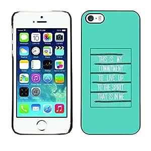 TopCaseStore / la caja del caucho duro de la cubierta de protección de la piel - Bible Spirit Holy Quote God Green Poster - Apple iPhone 5 / 5S