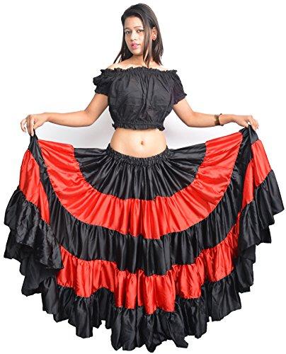 yards 25Crock Rot femme Schwarz espagne danse flamenco Wevez OvXxwx