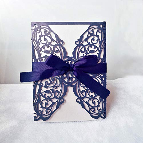 JEWH 10Pcs/1Lot Wedding Invitation Card Laser Cut Lace Openwork Invitation Cards White Elegant Pattern Holiday Party Decoration (Blue) -