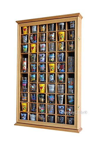 56 Shot Glass Shooter Display Case Holder Cabinet Wall Rack with DOOR (Oak Finish) by DisplayGifts