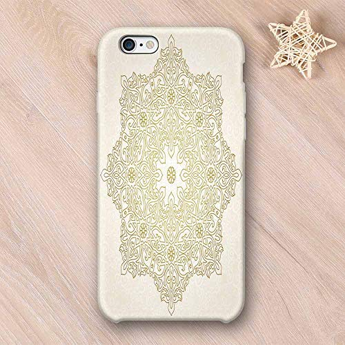 Gold Mandala Non Fading Compatible with iPhone Case,Antique Lace Pattern Blooming Asian Garden Theme Filigree Style Traditional Decorative Compatible with iPhone 6 Plus / 6s Plus,iPhone 6/6s