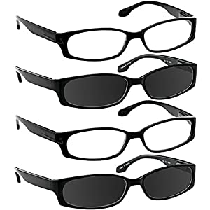Reading Glasses 1.00 2 Black 2 Sun (4 Pack) F503 TruVision Readers