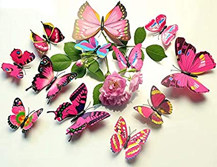 Waymeduo 12 Pieces 3D Butterfly Stickrs Fashion Design DIY Wall Decoration House Decoration Babyroom Decoration-Fancy Pink