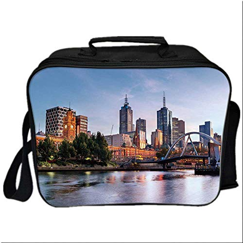 City Picnic Bag Cooler Bag,Early Morning Scenery in Melbourne Australia Famous Yarra River Scenic for Kids Boys Girls,10.6